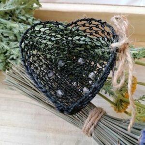 Drátované srdce - černé